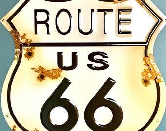 Route 66 weatheres road sign