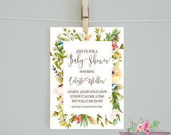 Neutral Floral Baby Shower/ Girl Baby Shower/ Neutral Baby Shower Invitation/Floral Baby Shower