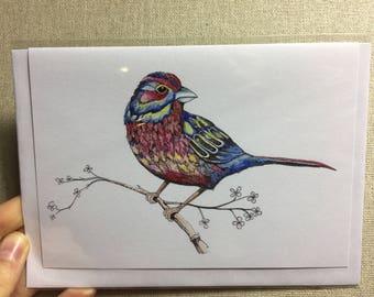 Blank Watercolour Robin Greetings Card