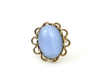 Vintage Faux Moonstone Flower Ring - Retro Pale Blue Stone & Gold Tone Jewelry - Size 5 3/4 Adjustable Cocktail Ring - 1960s Accessory