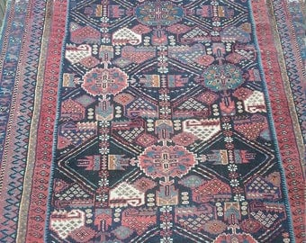Antique persian rug 4.1 × 3.7 ft 125 × 110 cm, very beautiful