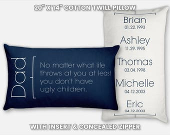 Personalized Dad Gifts from Son Wedding Gifts for Dad from Son Step Dad Gifts Wedding Gifts for Step Dad Gift from a Daughter Dad Son Pillow