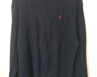 Nautica Sweater XL Blue With Red Logo 100% Cotton Cable Knit .