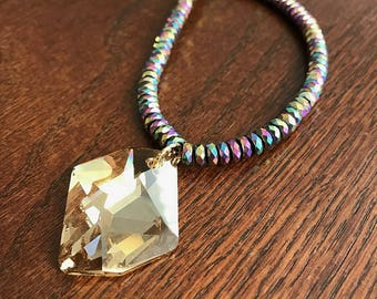 Faceted Hemalyke Necklace with a Sparkling Swarovski Pendant