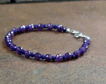 Faceted Amethyst and Lapis Lazuli Bracelet