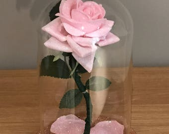 Beauty And The Beast Inspired Enchanted Rose, Pink Rose, bell jar Light, Wedding centrepiece, Birthday gifts, rose light