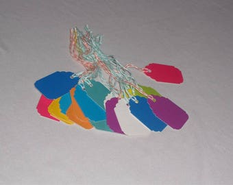 20 Small multicolored Strung Tags, marking Tags
