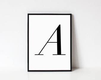 Scandinavian Printable Letter Print, Letter A, Black and White Typography Art