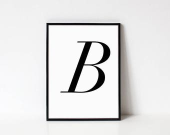 Scandinavian Printable Letter Print, Letter B, Black and White Typography Art