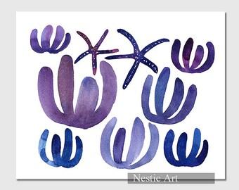 Starfish, Marine plant / Starfish, Starfish illustration, Starfish art, Starfish prints, 5x7, 8x10, 11x14, 16x20,  wall art, gift.