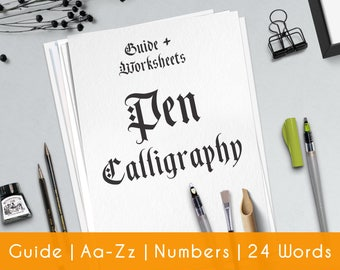 Hand Calligraphy | practice sheets | Worksheets | guide | beginners | Hand Lettering workbook | Learn Calligraphy | Gothic | Printable | P1