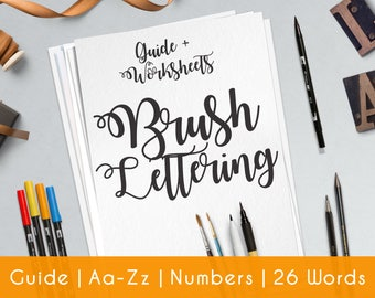 Hand Lettering | practice sheets | Printable Worksheets | guide | beginners | Brush Lettering | Learn Calligraphy | Lettering Workbook | B8