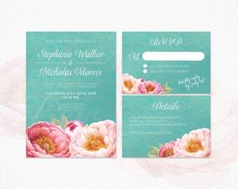 Printable Wedding Invitation, Peony Wedding Invitation, Tiffany Wedding Invitation, Floral Wedding Invitation, Mint Green Invitation