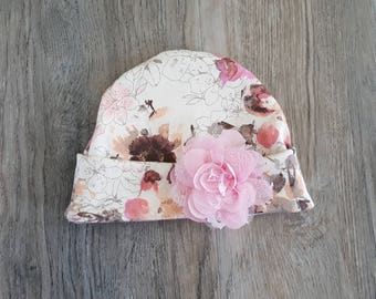 Baby girl hat/9-12month pink hat/pretty floral cotton hat/pretty hat for baby girl/spring baby girl hat/Baby girl headwear/Infant girl hat/