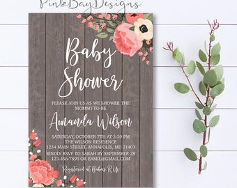 Rustic Floral Baby Shower Invitation, Rustic Baby Shower Invite, Wood Floral Invite, Rustic Baby Shower Invite, Wood Background Invite
