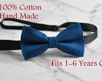 Boy Kids Baby 100% Cotton Craft Petrol Blue Green Bow Tie Bowtie Wedding Party 1-6 Years Old