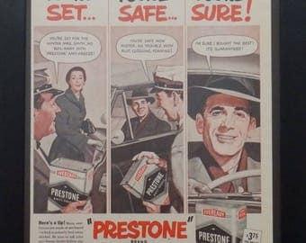 Prestone Anti-Freeze, Union Carbode Corp, Vintage Ad, 1951, Garage Decor, Man Cave Decor, Old Car Ad, Eveready, Illustration