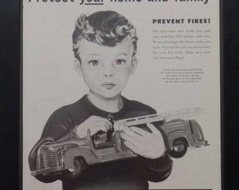 Fire Prevention Week, Vintage PSA, Child and Toy Fire Truck. Firefighters, Illustration, 1951