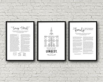 Living Christ + St. George, Utah Temple + Family Proclamation | Set of 3 | Poster 24x36 | Digital Prints | Instant Download | LDS