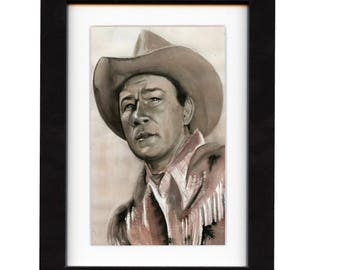 art, roy rogers, art print, print, ranch, cowboy art, cowboy, gift, hat, old, western, decor, wall art, portrait, famous, saltwatercolors