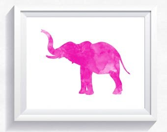 ELEPHANT print, elephant printable, watercolor elephant, pink elephant wall art elephant nursery elephant printable poster download