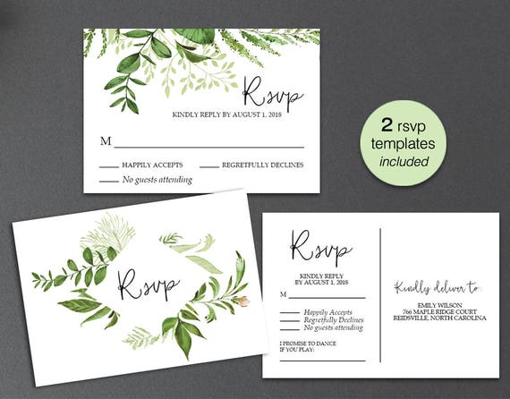 rsvp card rsvp postcard rsvp template greenery wedding rsvp