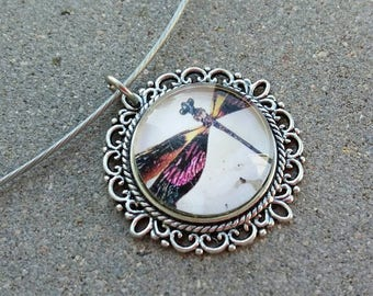 Necklace rigid silver wire with glass cabochon