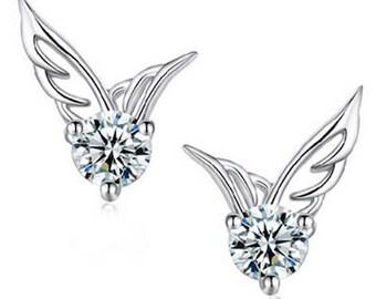 Bridal CZ Zircon Crystals Angel Wings Ear Stud Earrings, Bridesmaids Earrings, Bridesmaids Gift