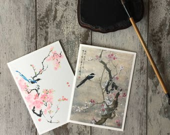 Chinese New Year Card, Chinese Card, Cherry Blossom Art Card, Blank Cards, Nature Art, Oriental Flower Card, Cherry Blossom Card, Asian Art