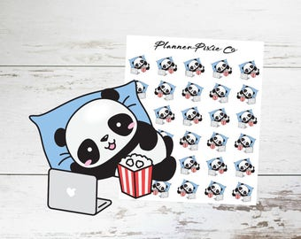 Panda Planner Stickers // Binge Watch // TV