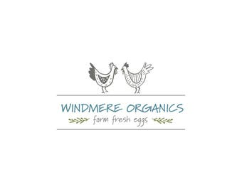 Farmhouse Brand, Organic Logo, Premade Logo, Chicken Logo, Rooster, Egg Brand, Restaurant Logo, Bistro Patio Logo, Small Business Branding
