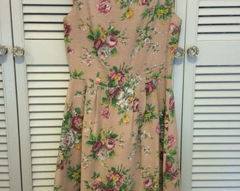 1950s vintage barkcloth pink floral handmade dress - size 10 - beautiful colours and print!