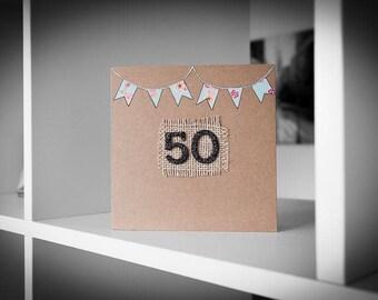 Blue Flowered Bunting 50th Birthday Card