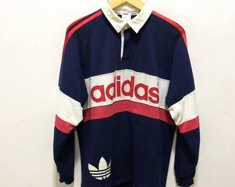 BIG SALE Vintage Adidas Rugby Shirt Hip Hop Adidas Spellout Adidas Trefoil Big Logo