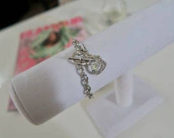 Queen Crown Charm Toggle Bracelet - Silver 7in