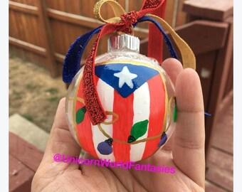 Puerto Rico Glass Christmas Ornament Hand Painted Acrylic