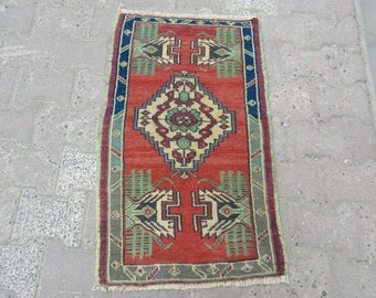1.8x3.1 Vintage door mat Turkish mini rug