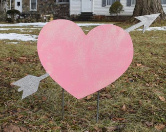 1 glittered valentines day hearts valentines day outdoor decorations yard sign heart yard - Valentine Outdoor Decorations