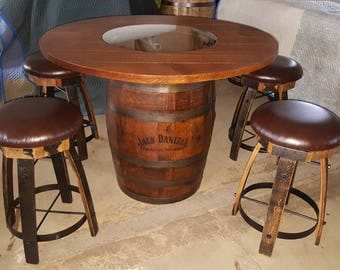 Jack Daniels Whiskey Barrel Table, With 4 Cushion Stave Stools   (ask For  Freight