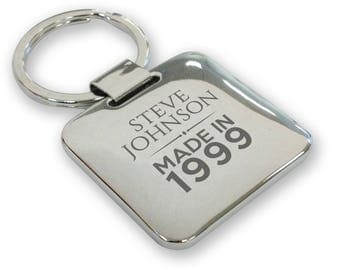 Personalised engraved SILVER PLATED 18th birthday keyring gift, deluxe pillow square keyring - QMA18