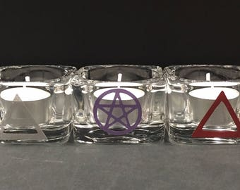 Wicca/Pagan Elements Altar Candle Holder Set