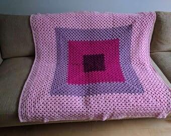 Hand-crochet pink ombre lap blanket