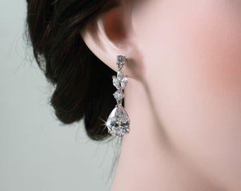 MacKenzie - Wedding Earrings, Cubic Zirconia Bridal Earrings, Vintage Wedding, Teardrop Earrings, Crystal Drop Earrings, CZ Bridal Jewelry