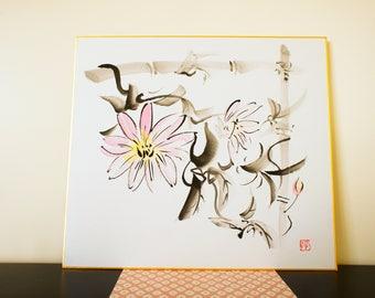 Sumie, Japanese calligraphy / tessen (crematite flower)