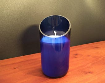 Candle Up Cycled Blue Wine Bottle Soy Wax Candle- Angle Cut. Made to Order!!!!