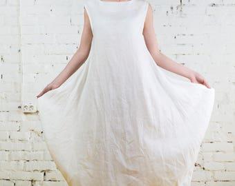 Linen dress, linen dresses for women, linen overalls, white linen dress, linen dress long, linen dress sleeveless /LD0011