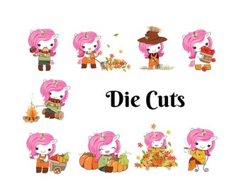 Planner Stickers Fall Unicorn Die Cuts