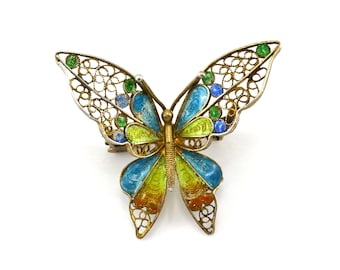 Butterfly Brooch, 800 Silver, Vermeil, Enamel