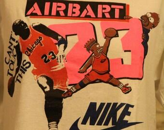 VERY RARE 90s Black Bart Michael Jordan Nike Bootleg Simpsons T Shirt - Air Bart