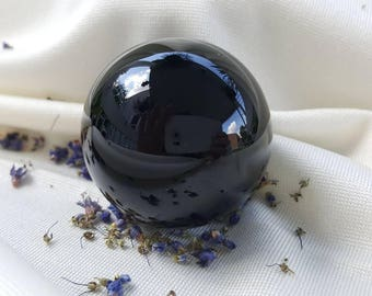 Black obsidian sphere great for chakra and reiki healing, volcanic glass 3cm/30mm, large